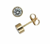 1 Carat Each Round Bezel Set Cubic Zirconia Stud Earrings in 14K Yellow Gold