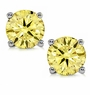 1 Carat Each Round Canary Diamond Quality Cubic Zirconia Stud Earrings