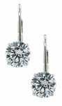 1 Carat Each Round Cubic Zirconia Leverback Stud Euro Wire Earrings