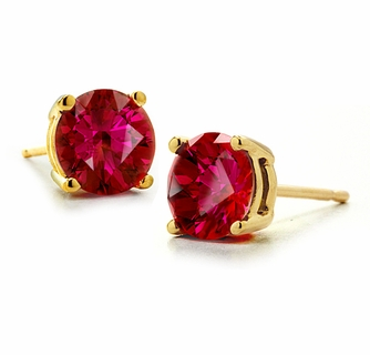 1 Carat Each Round Man Made Lab Created Synthetic Ruby Stud