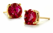 1 Carat Each Round Man Made Lab Created Synthetic Ruby Stud Earrings