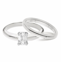 1 Carat Emerald Cut Classic Solitaire Engagement Ring with Matching Band Wedding Set