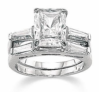 1 Carat Emerald Cut Cubic Zirconia Baguette Solitaire with Matching Band Wedding Set