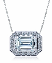 1 Carat Emerald Cut Horizontal Cubic Zirconia Pave Halo Pendant Necklace