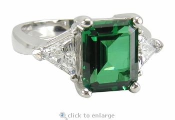 1 Carat Emerald Cut with Trillions Cubic Zirconia Engagement Ring