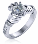 1 Carat Heart Claddagh Pave Cubic Zirconia Engagement Ring