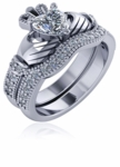 1 Carat Heart Claddagh Pave Cubic Zirconia Engagement Ring Wedding Set
