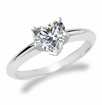 1 Carat Heart Cubic Zirconia Classic Solitaire Engagement Ring