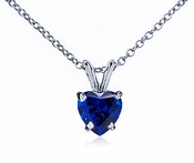 1 Carat Heart Sapphire Blue Zirconia Classic Solitaire Pendant in 14K White Gold