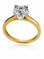1 Carat Heart Shaped Cubic Zirconia Cathedral Solitaire Engagement Ring