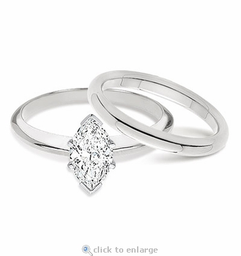 1 Carat Marquise Classic Solitaire Engagement Ring with Matching Band Wedding Set