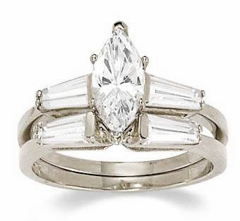 1 Carat Marquise Cubic Zirconia Baguette Solitaire with Matching Band Wedding Set