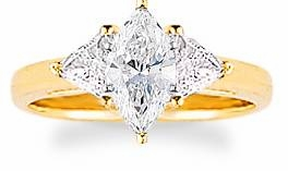 1 Carat Marquise with Trillions Three Stone Cubic Zirconia Engagement Ring