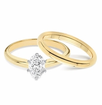1 Carat Oval Classic Solitaire Engagement Ring with Matching Band Wedding Set