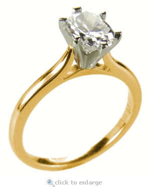 1 Carat Oval Cubic Zirconia Cathedral Solitaire Engagement Ring