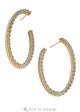Oval Shaped 1 Carat Cubic Zirconia Front Facing Wrap Around Earring Hoops