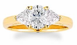 1 Carat Oval with Trillions Three Stone Cubic Zirconia Engagement Ring