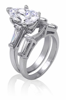 1 Carat Pear Cubic Zirconia Baguette Solitaire with Matching Band Wedding Set