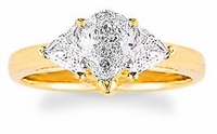 1 Carat Pear with Trillions Cubic Zirconia Engagement Ring