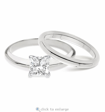 1 Carat Princess Cut Classic Solitaire Engagement Ring with Matching Band Wedding Set
