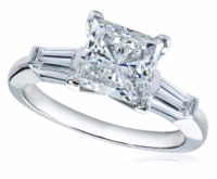 1 Carat Princess Cut Cubic Zirconia Baguette Solitaire Engagement Ring