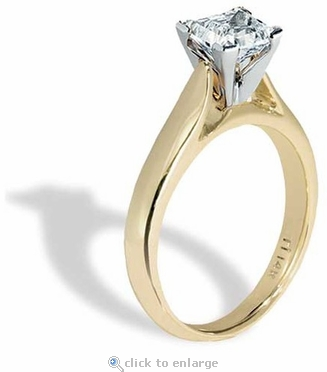 1 Carat Princess Cut Cubic Zirconia Cathedral Solitaire Engagement Ring