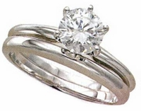 1 Carat Round Classic Solitaire Engagement Ring with Matching Band Wedding Set