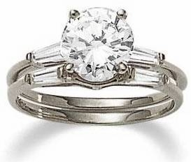 1 Carat Round Cubic Zirconia Baguette Solitaire with Matching Band Wedding Set
