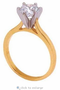 1 Carat Round Cubic Zirconia Cathedral Solitaire Engagement Ring
