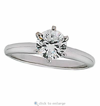 1 Carat Round Cubic Zirconia Six Prong Classic Solitaire Engagement Ring