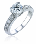 1 Carat Round Royal Crown Double Prong Cubic Zirconia Pave Bridal Set