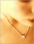 1 Carat Round Single Station Cubic Zirconia Floating Solitaire Wire Bezel Necklace