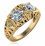 Gemello 1 Carat Two Stone Round Cubic Zirconia Engraved Estate Ring