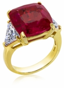 10 Carat Cushion Cut Ruby with Trillions Cubic Zirconia Three Stone Ring