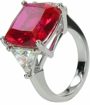 10 Carat Cushion Cut with Trillions Three Stone Cubic Zirconia Engagement Ring