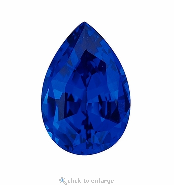 12 Carat 19x13mm Pear Blue Sapphire Lab Created Synthetic Loose Stone
