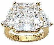 12 Carat Emerald Cut with Trillions Cubic Zirconia Engagement Ring