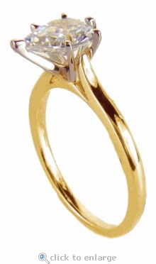 14 Carat Pear Cubic Zirconia Cathedral Solitaire Engagement Ring