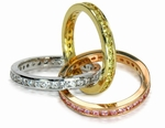 Tri Color 14K Gold Channel Set Round Cubic Zirconia Rolling Ring Trinity Ring Russian Wedding Ring Eternity Band Size 8.5