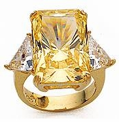 15 Carat Emerald Cut with Trillions Cubic Zirconia Engagement Ring