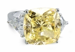 2.5 Carat Canary Cushion Cut Cubic Zirconia Square With Trillions Engagement Ring