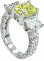 Carlisle 2.5 Carat Center Three Stone Emerald Radiant Cut Cubic Zirconia Antique Estate Style Ring
