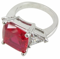 2.5 Carat Cushion Cut with Trillions Three Stone Cubic Zirconia Engagement Ring