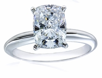 2.5 Carat Cushion Emerald Cut Cubic Zirconia Classic Solitaire Engagement Ring