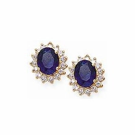 2.5 Carat Each Center Oval Cubic Zirconia Cluster Earrings - Large