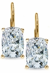 2.5 Carat Each Elongated Cushion Cut Cubic Zirconia Leverback Earrings