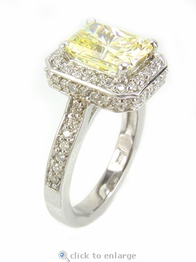 2.5 Carat Elegant Emerald Cut Cubic Zirconia Halo Pave Cathedral Solitaire Engagement Ring