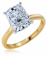 2.5 Carat Elongated Cushion Cut Cubic Zirconia Cathedral Solitaire Engagement Ring