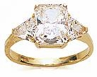 2.5 Carat Emerald Cut with Trillions Cubic Zirconia Engagement Ring