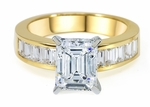 2.5 Carat Emerald Step Cut Cubic Zirconia Channel Set Baguette Solitaire Engagement Ring 14K Yellow Gold